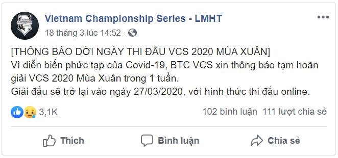 VCS chính thức bắt đầu lại